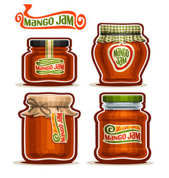 Mango jam in glass jars vector