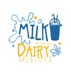 Milk dairy products logo symbol colorful hand vector