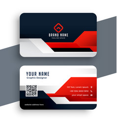 modern red business card template in geometric vector image