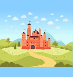 natural landscape with terracotta medieval castle vector image