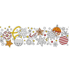 new year hand drawn outline festive seamless vector image
