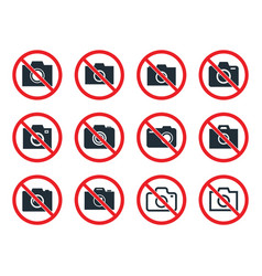 no photo camera sign icon set no photography vector image