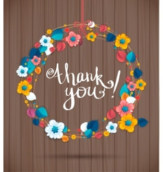 Ornamental round wreath THANK YOU Spring floral vector image