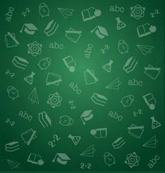 pattern from school elements on green chalkboard vector image