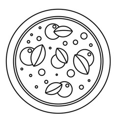 Pizza with basil icon outline style vector