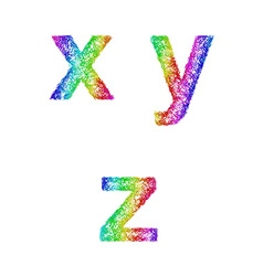 Rainbow sketch font set - lowercase letters x y z vector image