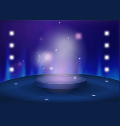 round pedestal in blue color tones vector image