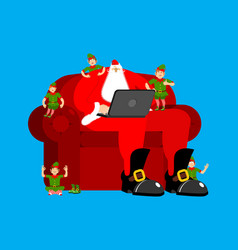 Santa claus on chair working in laptop elf vector