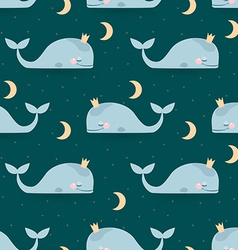 Seamless pattern with sleeping whales moon stars vector