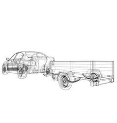 Sedan with open trailer sketch vector