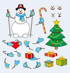 set cartoon snowman for animation vector image