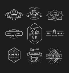 Set coffee logo vintage label blackboard template vector
