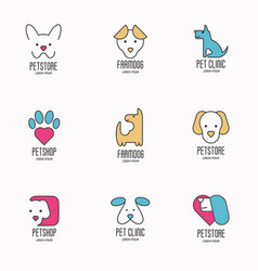 Set colorful logotypes with dogs for vet clinic vector