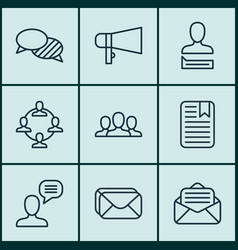 Set of 9 communication icons includes talking vector