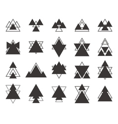 Set of black geometric shapes triangles lines for vector