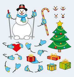 set of cartoon snowman for animation vector image