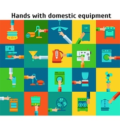Set of hands with domestic equipment vector image