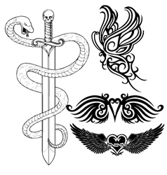 set tattoo design vector image