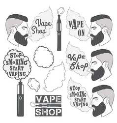 set vaping objects labela elements vape shop vector image