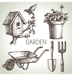Sketch gardening set vector