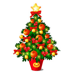 sketch with cute christmas tree with red ribbon vector image