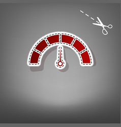 speedometer sign red icon vector image