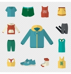 Sport clothing icons set vector
