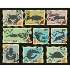 stamps with sea animals vector image