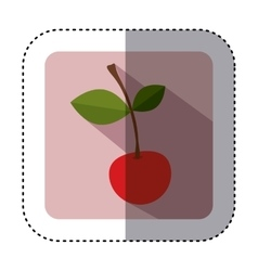 Sticker of square button with colorful cherry vector