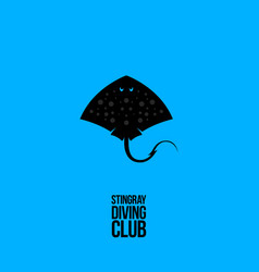 Stingray logo diving club emblem vector