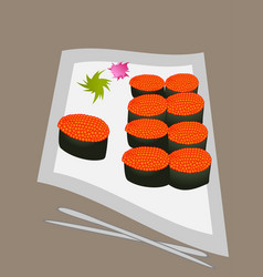 Sushi rolls flat food and japanese seafood vector