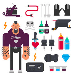 Tattoo master and tattooing tools icons set vector