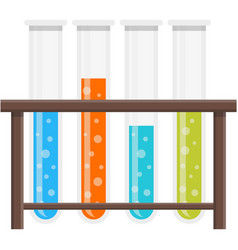 Test tube holder glass stand row icon vector