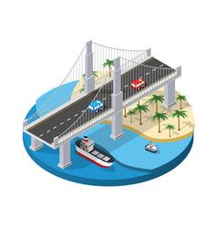 The bridge urban infrastructure is isometric vector