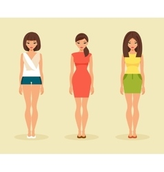 Three girls in summer clothes vector image