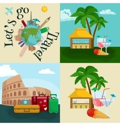 Travel tourism icons vacation vector image