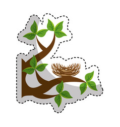 Tree branch with nest nature isolated icon vector