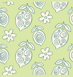 tropical leaves seamless pattern modern lemons vector image