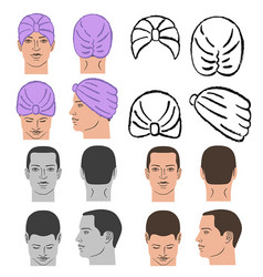 Turban or shower cap template and man head vector