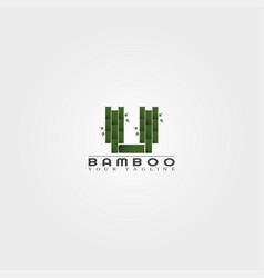 U letter bamboo logo template creative design vector