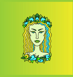 virgo girl portrait zodiac sign doodle vector image