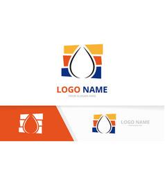 water drop logo combination aqua droplet logotype vector image