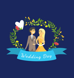 wedding day banner template with happy just vector image