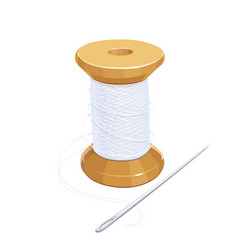 white thread reel with needle vector image