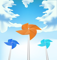 Windmills on sky background vector image