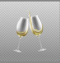 wine glasses with splashing white wine realistic vector image