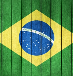 Wooden Flag of Brazil vector image
