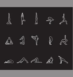 yoga asanas chalk icons set vector image
