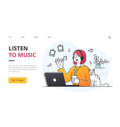young woman listening to music on stereo vector image