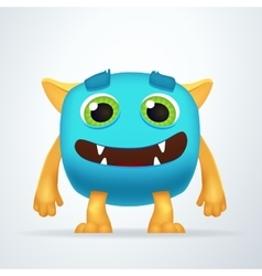 Cute colorful blue ogre with silly smile and vector